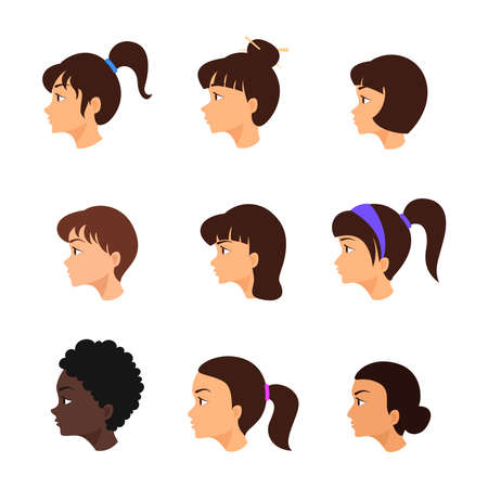 Woman's face in profile. Girls avatar set. Collection of female hairstyles.