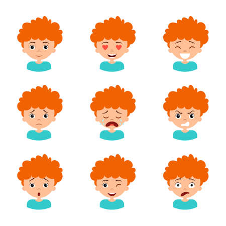 Different boy's emotion set. Collection character expression. Children emoticon, avatar clipart