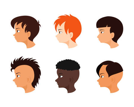 Male face in profile. Boys avatar set. Collection of children hairstyles. Ilustração
