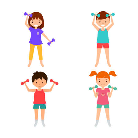 Collection children with dumbbels. Kids fitness. Boys and girls activity Ilustração