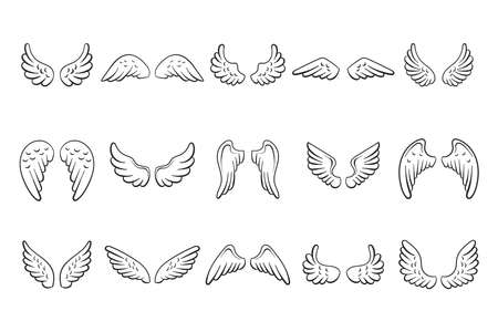 Fairy black contour wings set on white background. Collection hand drawn angel wings