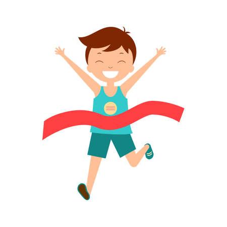 Boy run to finish. Winner vector illustration. Champion.