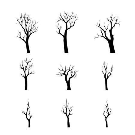 Collection different trees silhouettes. Hand drawn vector illustration