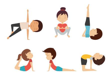 Yoga for kids. Smiling children in different poses and asanas isolated on white background. Set 3 Ilustração