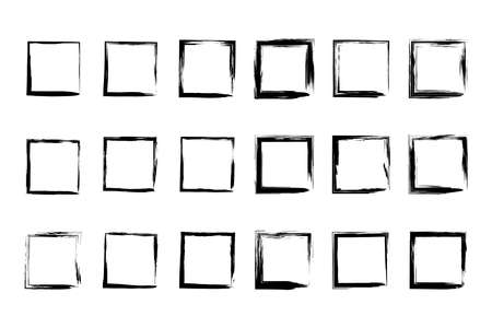 Collection empty black grunge rectangle frame isolated on white background. Ilustração