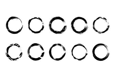Collection modern grunge black circle frame Ilustração