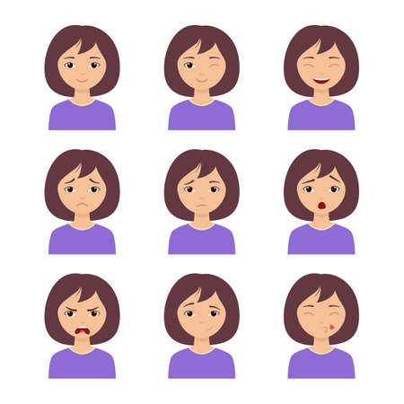 Different girl emotion set. Collection character expression. Women emoticon, avatar clipart