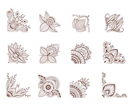 Collection ornate corner mehendi style.Decorative design element collection