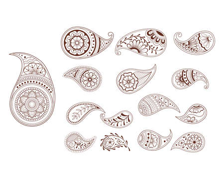 Decorative hand drawn element henna style collection.Paisley set for your design, tattoo. Henna-mehndi doodles design