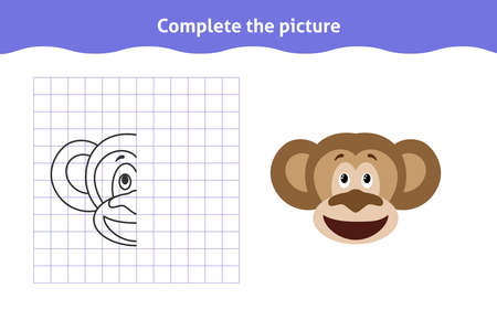 Complete the picture. Educational game, reflection image for toddlers. Symmetrical worksheet with cute chimp face for kindergarten and preschool. Children pastime, traning for visual perception Ilustração