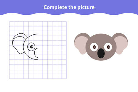 Complete the picture. Educational game, reflection image for toddlers. Symmetrical worksheet with cute koala face for kindergarten and preschool. Children pastime, traning for visual perception