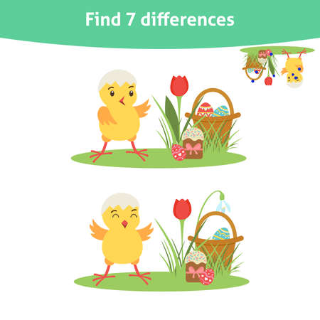 Find seven differences. Educational game with cute chiken and Easter elements for toddlers. It can be used for kindergarten and preschool. Children activity page.