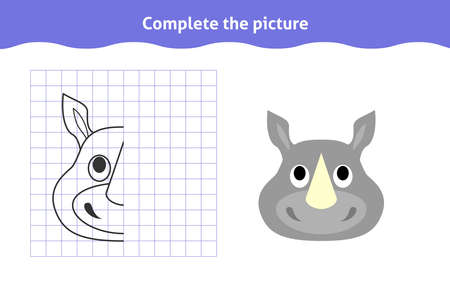 Complete the picture. Educational game, reflection image for toddlers. Symmetrical worksheet with rhino face for kindergarten and preschool. Children pastime, traning for visual perception