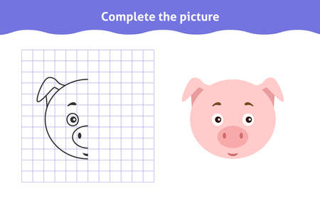 Complete the picture. Educational game, reflection image for toddlers. Symmetrical worksheet with cute pig face for kindergarten and preschool. Children pastime, traning for visual perception