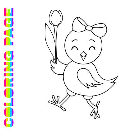 Coloring page for kids with cute chicken for toddlers. Printable worksheet for kindergarten and preschool. Children activity page.