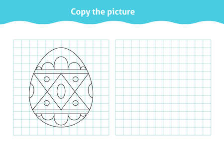 Copy the picture. Educational game, repeat image for toddlers. Worksheet with ornate Easter egg for kindergarten and preschool. Children pastime, traning for visual perception