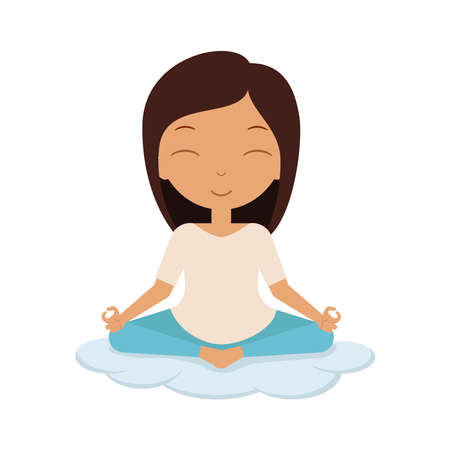 Dark-haired girl sits in lotus position on cloud. Yoga pose. Asana.