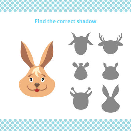 Find the correct shadow. Printable worksheet. Educational game for toddlers with bunny face. It can be used for kindergarten and preschool. Children activity page. Ilustração