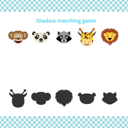 Shadow matching printable worksheet. Educational game for toddlers with animal faces. It can be used for kindergarten and preschool. Children activity page.