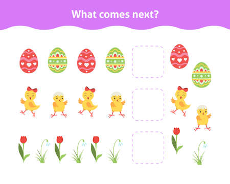 What comes next. Printable worksheet for kindergarten and preschool. Educational game for toddlers with cute chickens, tulip, Easter ornate eggs.Children activity page. Ilustração