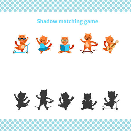 Shadow matching printable worksheet. Educational game for toddlers with cartoon ginger cat. It can be used for kindergarten and preschool. Children activity page. Ilustração