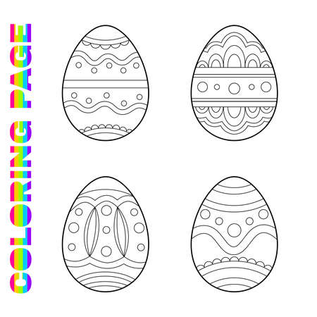 Coloring page for kids with ornate Easter eggs for toddlers. Printable worksheet for kindergarten and preschool. Children activity page.