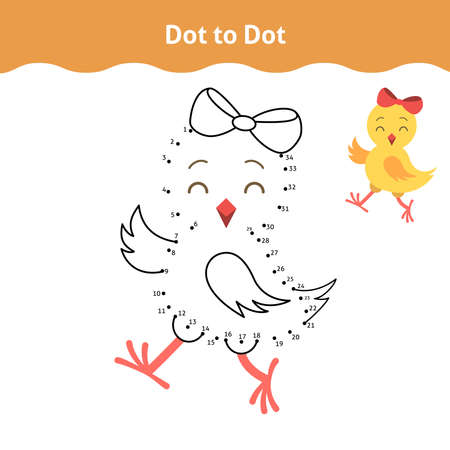 Dot-to-dot. Printable worksheet. Educational game for toddlers with cute chicken. It can be used for kindergarten and preschool. Children activity page. Ilustração