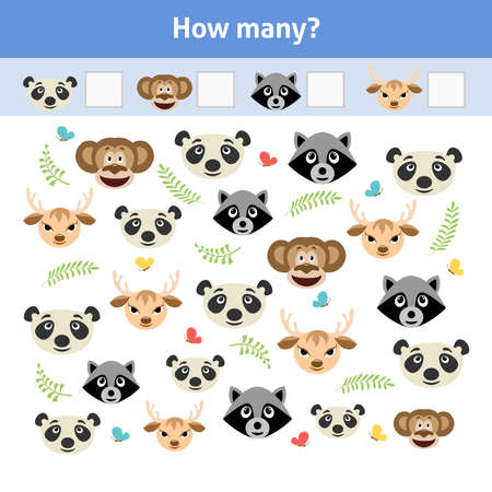 How many. Printable worksheet. Educational game for toddlers with animal faces. It can be used for kindergarten and preschool. Children activity page. Ilustração