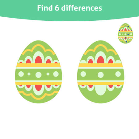 Find differences. Educational game with ornate Easter egg for toddlers. It can be used for kindergarten and preschool. Children activity page. Ilustração