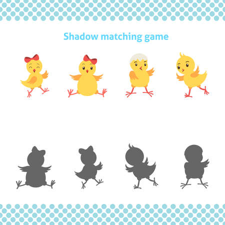 Shadow matching printable worksheet. Educational game for toddlers with cute chickens. It can be used for kindergarten and preschool. Children activity page.