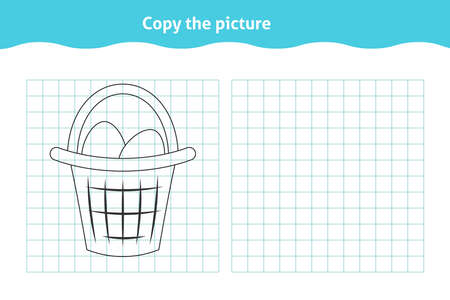 Copy the picture. Educational game, repeat image for toddlers. Worksheet with basket with eggs for kindergarten and preschool. Children pastime, traning for visual perception Ilustração