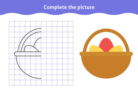 Complete the picture. Educational game, reflection image for toddlers. Symmetrical worksheet with basket with eggs for kindergarten and preschool. Children pastime, traning for visual perception