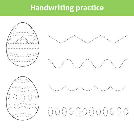 Handwriting worksheet for children with ornate Easter eggs. Educational printable page for kindergarten and preschool. Tracing dashed lines for handwriting practice