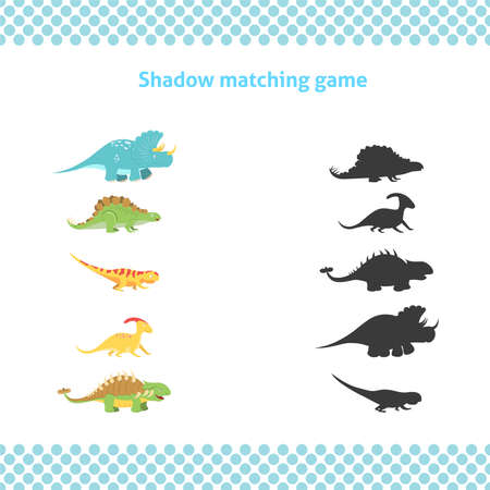 Shadow matching printable worksheet. Educational game for toddlers with cute dinosaurs. It can be used for kindergarten and preschool. Children activity page. Ilustração