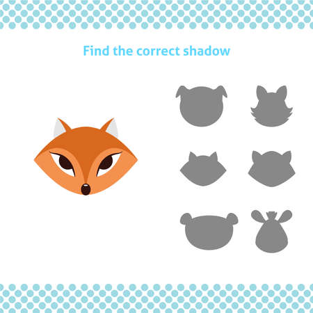 Find the correct shadow. Printable worksheet. Educational game for toddlers with fox face. It can be used for kindergarten and preschool. Children activity page.
