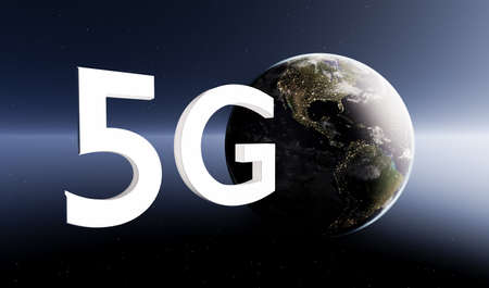 planet earth on starry background with sunlight halo with the word 5G. 3d render Banque d'images