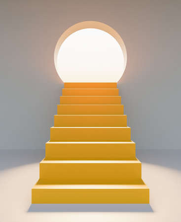 abstract yellow stairs in front with a round door illuminated with sun glare. product presentation. 3d render
