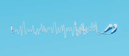headphones with cable making a sound wave on a blue background. 3d rendering Standard-Bild