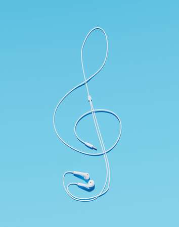 headphones with cable making the shape of the treble clef on blue background. 3d rendering Standard-Bild