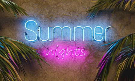 neon sign on cement wall with the word SUMMER NIGHTS and palm leaves on the sides. 3d rendering