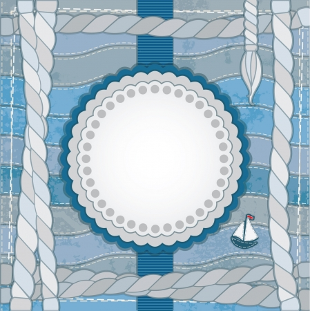 Vintage scrapbook nautical card with frame, rope and ship Stock Vector - 15106798