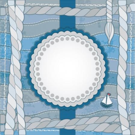 azul marino: Vintage tarjeta de álbum de recortes náutico con marco, cuerdas y barco Vectores