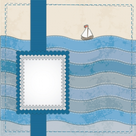 Vintage scrapbook nautical card with frame, ribbons and ship  Vector