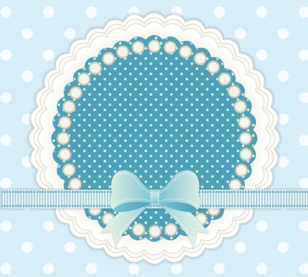 retro sticker: Baby frame with blue bow