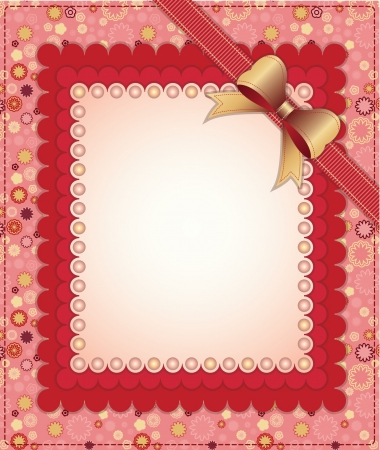 Pink frame with bow and beads on floral background Vector