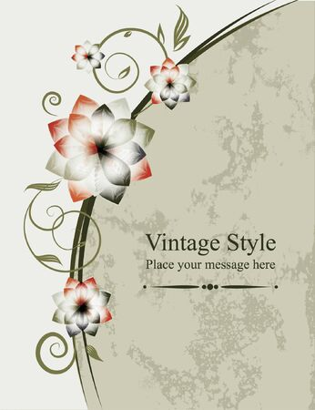 Floral vector background  Vintage frame, element for design   Vector