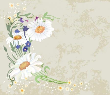 Floral vector illustration on grunge background