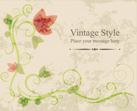 Floral vector illustration card on grunge background  Vector