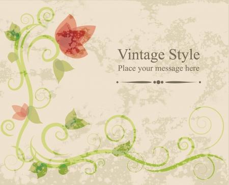 Floral vector illustration card on grunge background Stock Vector - 16627194