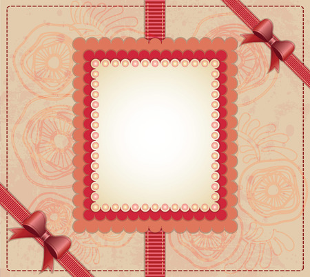 Frame with bow and beads on floral background  Vector